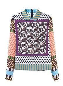 Slim Long Sleeve Shirt Floral Polyester