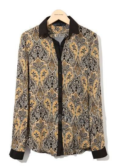 Long Black Cotton Vintage Shirt Floral