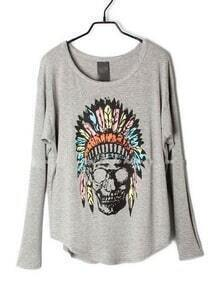 Grey Indian Skull Dolman Long Sleeve Curved Hem T-shirt