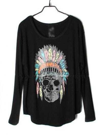 Black Indian Skull Dolman Long Sleeve Curved Hem T-shirt