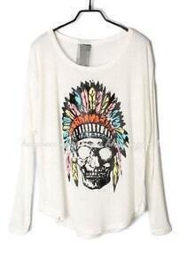 White Indian Skull Dolman Long Sleeve Curved Hem T-shirt
