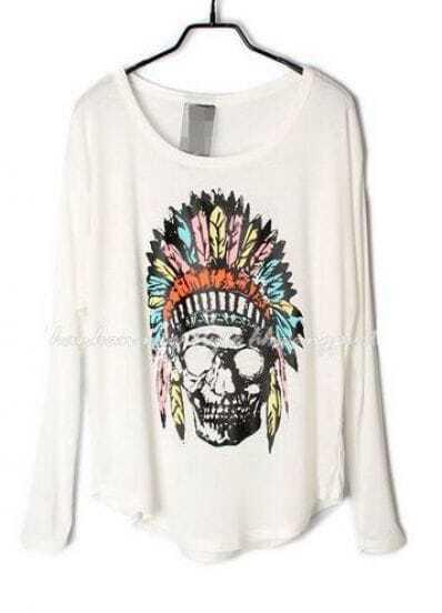 White Indian Skull Dolman Long Sleeve Curved Hem T-shirt