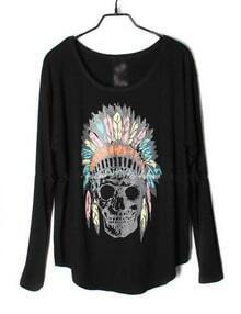 Black Indian Skull Dolman Long Sleeve Curved Hem T-shirt