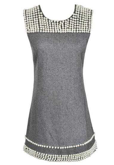 Light Grey Elegant Pearl Woolen Tank Winter Dress