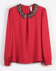 Vintage Sequined Red Chiffon Long-sleeved Shirt Collar