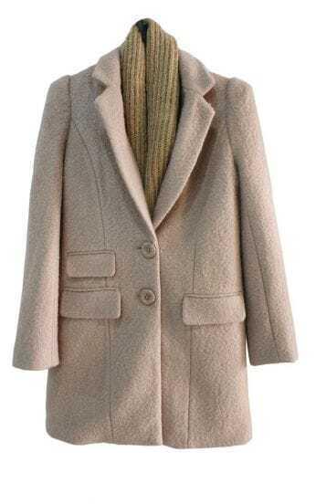 Single-breasted Light Pink Slim Long Woolen Coat