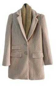 Single-breasted Light Pink Slim Long Woolen Coat