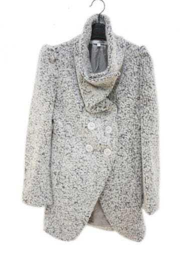 Slim Light Gray Single-breasted Long Woolen Coat