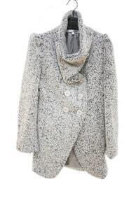 Slim Light Gray Single-breasted Long Woolen Coat