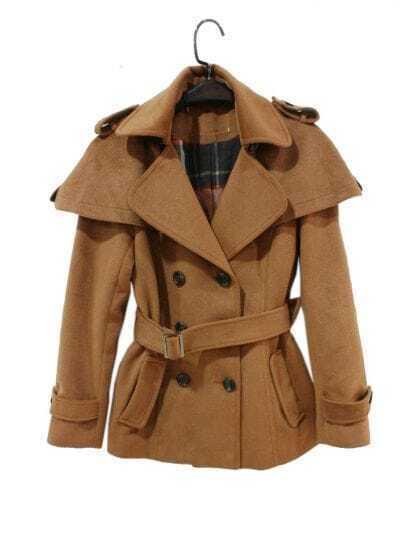Coffee Lapel Double-breasted Cloak-type Short Coat
