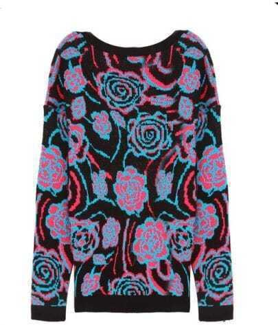 Rose-flowers Loose Long-sleeved Sweater