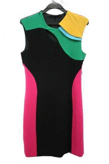 Multicolor Block Sleeveless Bodycon Winter Dress