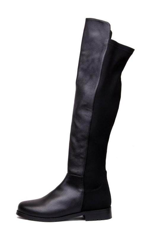 Leather Lycra Flat Knee High Boots Black -SheIn(Sheinside)