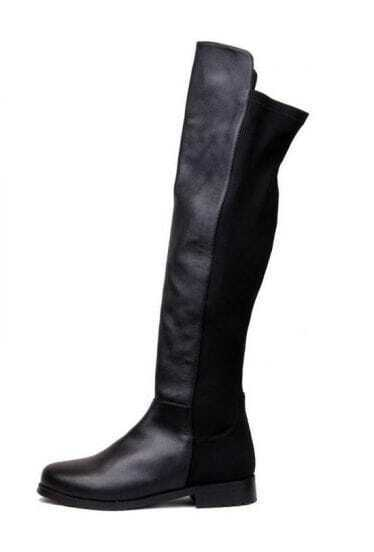 Leather Lycra Flat Knee High Boots Black