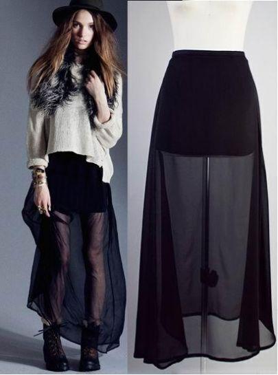 Black Chiffon Translucent Skirt