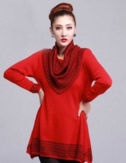 Fashion Loose Irregular Long Sweater Red