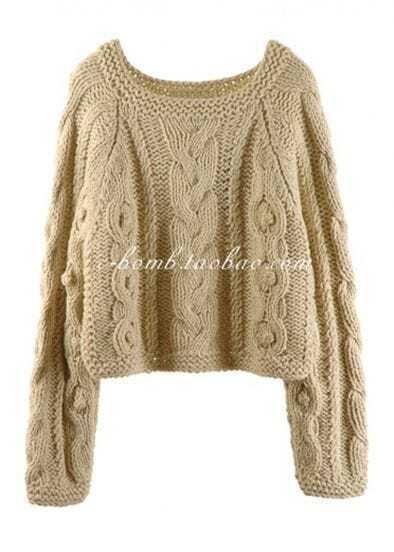 2012 Short Retro Khaki Pullover Sweater