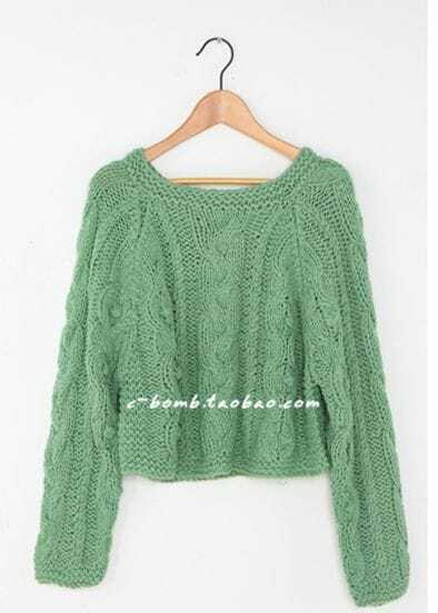 2012 Short Retro Green Pullover Sweater