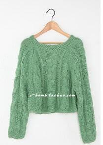 2012 Short Retro Green Pullover Sweater