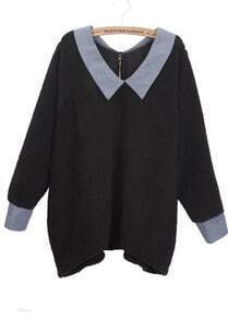 A-shaped Black V-neck Pullover Lapel Long Sweater
