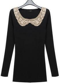 Slim Elastic Round Neck Long Black Sweater
