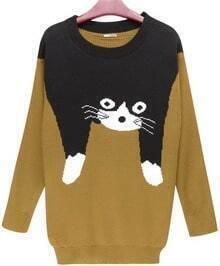 Cat Cartoon Logo Long Pullover Yellow Sweater