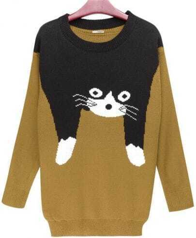 Cat Cartoon Logo Long Pullover Yellow Sweater