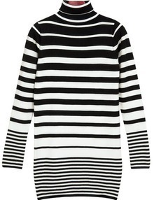 Slim Black and White Striped Long Sweater
