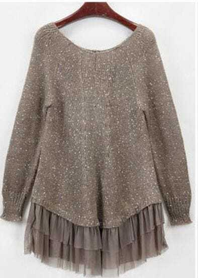Round Neck Long-sleeved Woolen Lace Sweater