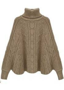 Star Stalker Bat Sleeve Solid Khaki Short Sweater