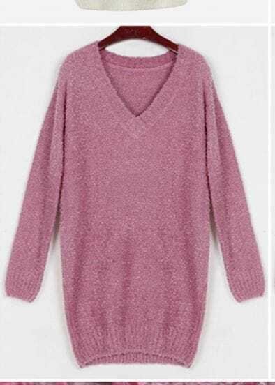 Pink Sexy V-Neck Long sleeve Slim Long Sweater