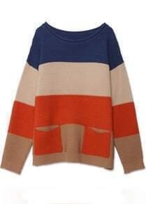 Vintage Stripe Slim Round Neck Cashmere Sweater