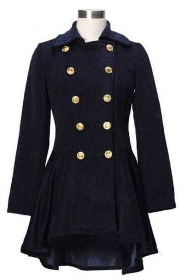 Slim Thick Woolen Double-breasted Coat Blue