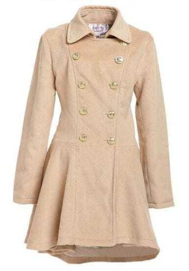 Slim Thick Woolen Double-breasted Coat Pink