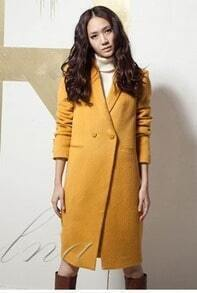 2012 Long Cashmere Yellow Solid Coat