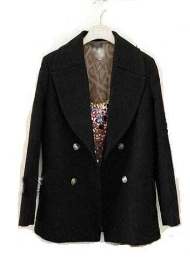 Star Stalker Double-breasted Woolen Long Sleeve Suit Black
