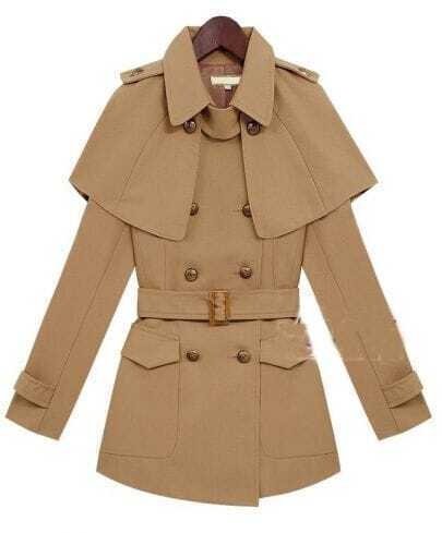 Vintage Brown Slim Double-breasted Detachable-cape Coat