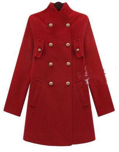Collar Double-breasted Cashmere Coat Red