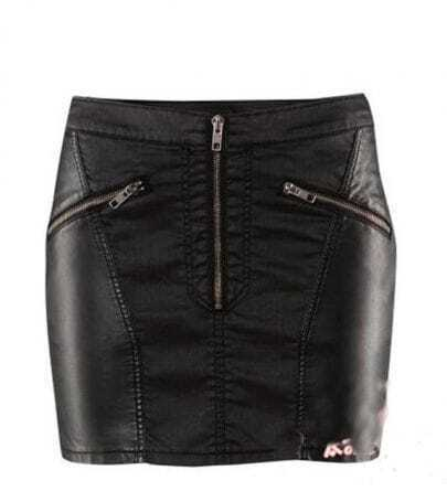 Black Stitching-leather Skirt Sexy And Simply