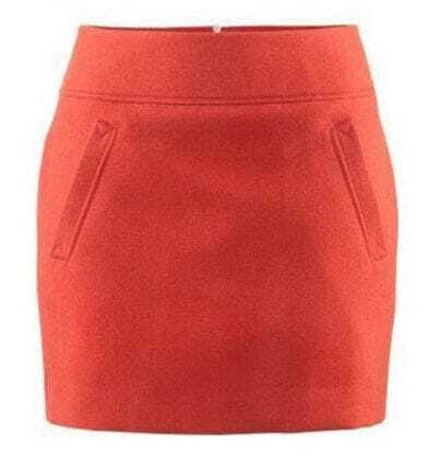Solid Pocket Empire A-line Red Mini Skirt