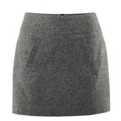 Solid Pocket Empire A-line Gray Mini Skirt