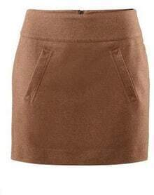 Solid Pocket Empire A-line Coffee Mini Skirt