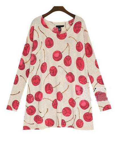 Loose Cherry-printing Bat Sleeve Woolen Sweater