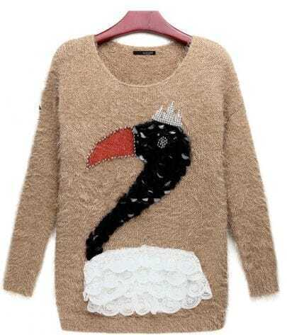 Swan-sequins Lace Khaki Long Sweater