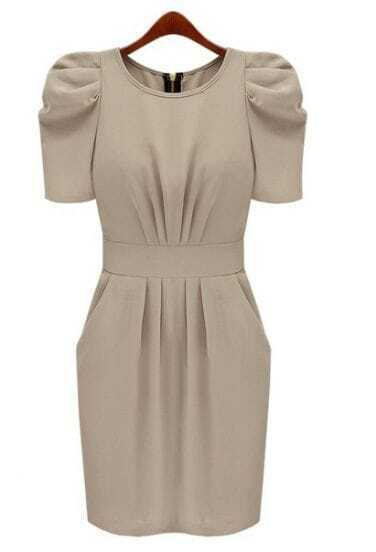 Khaki Short Sleeve Shoulder Pad Fitted Dress