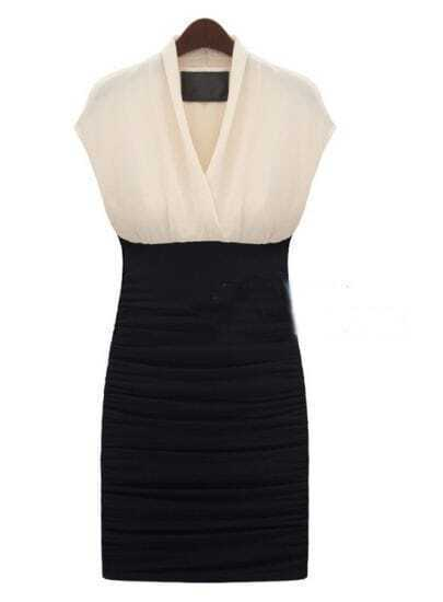 Celebrity Black and White Fashion V-Neck Dress