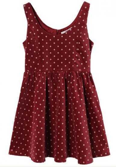 Polka Dot Vintage Corduroy Sleeveless Red Dress