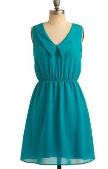 Blue Vintage Lapel Tank High Waist Dress