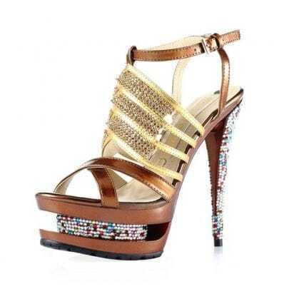 Diamond Hollow Out High Heeled Sandals