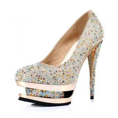 Crystal Banquet Shoes Golden